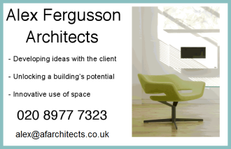 Alex Fergusson Architects ad with chair